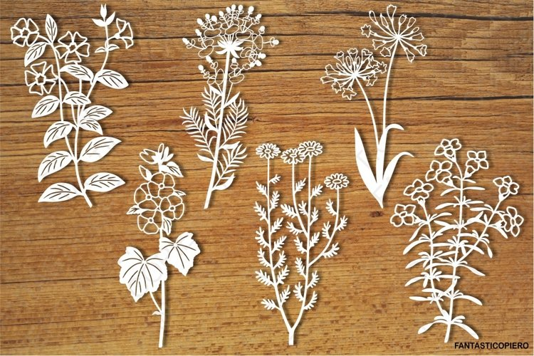 Wildflowers set 3 SVG files for Silhouette and Cricut. example image 1