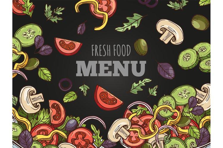 Fresh food menu cover vector template. Hand sketched vegan s example image 1
