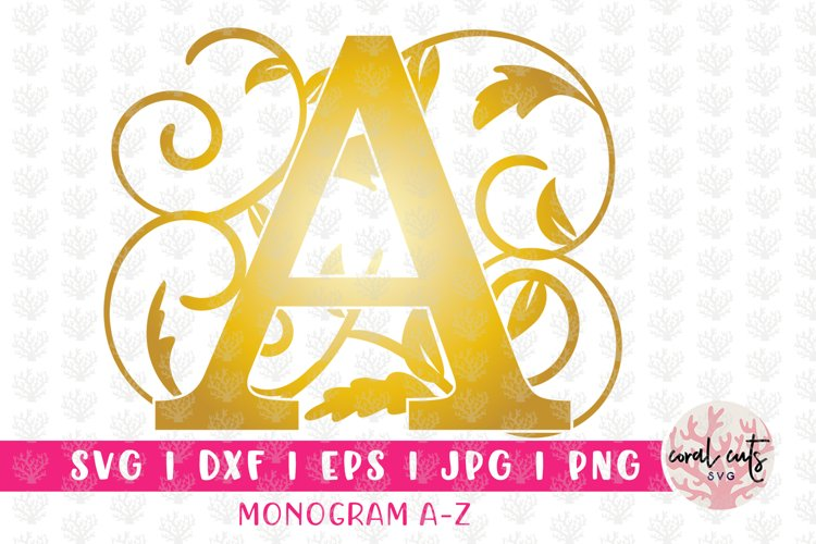 Gold Floral Monogram Alphabet - A to Z Split Monograms