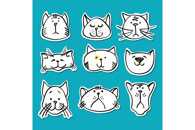 Cute doodle cats stickers collection example image 1