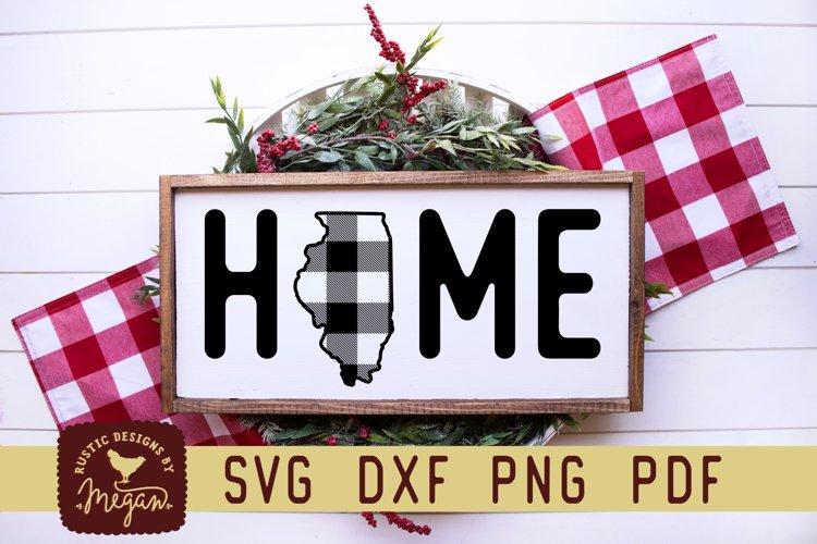 Illinois Buffalo Plaid State Home SVG DXF Cut File example image 1