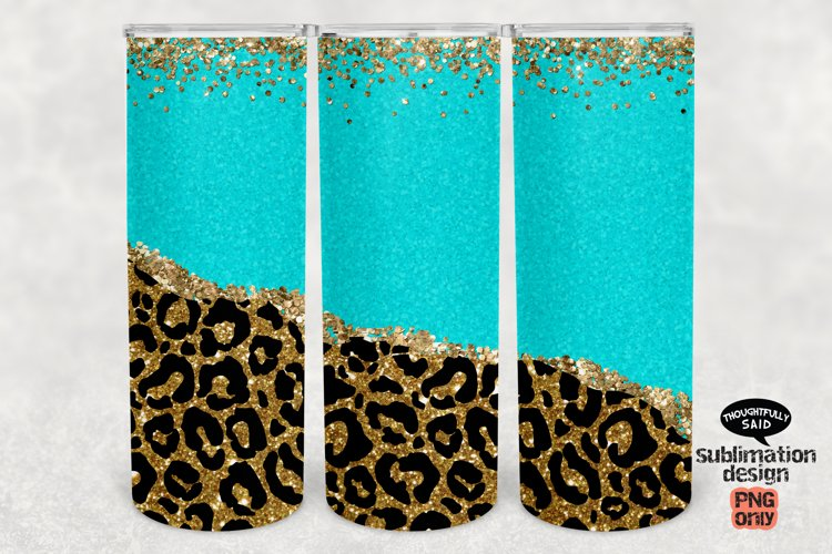 Leopard Glitter Turquoise 20 oz Tumbler SUBLIMATION png example image 1