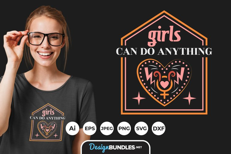 Girls Can Do Anything Hand Drawn Lettering SVG example image 1