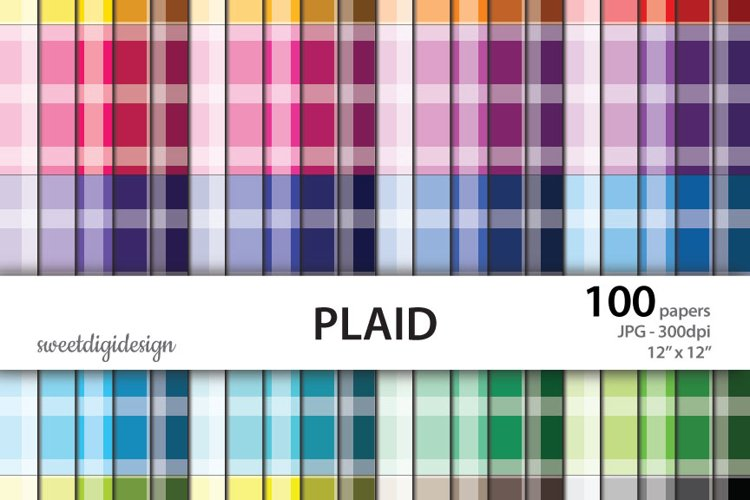 Color stripes paper, plaid digital seamless patterns example image 1