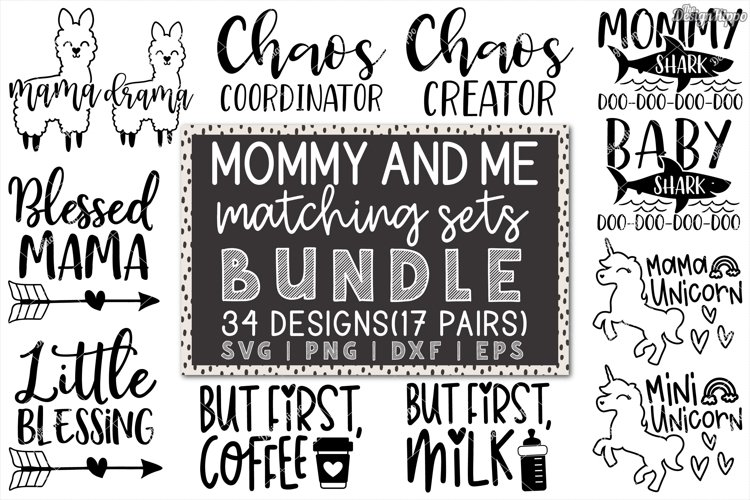 Mommy And Me SVG Bundle of 34 Designs - DXF PNG Cut Files example image 1