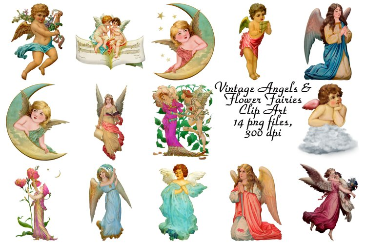 Vintage Angels and Flower Fairies Clip Art