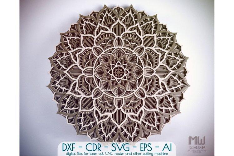 M59 - Flower Mandala DXF file, Multilayer Mandala Pattern