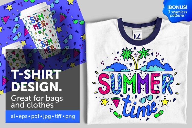 Summer illustration for t-shirt design example image 1