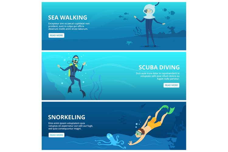 Horizontal banners with sea scuba divers. Funny cartoon char example image 1