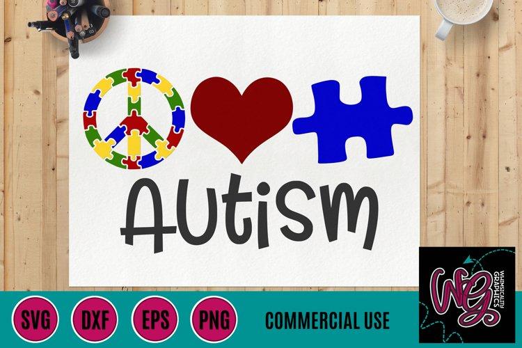 Peace Love Autism SVG, DXF, PNG, EPS Comm