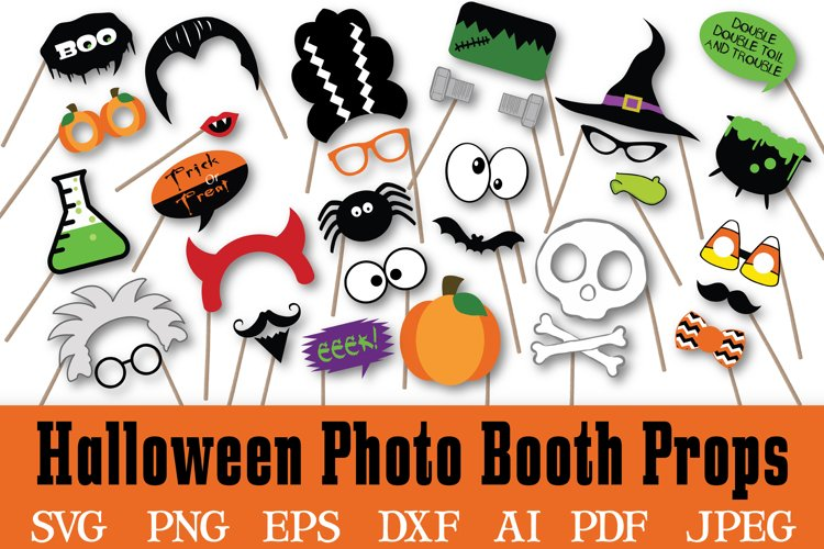 Halloween Photo Booth Props Halloween SVG Cut File DXF EPS