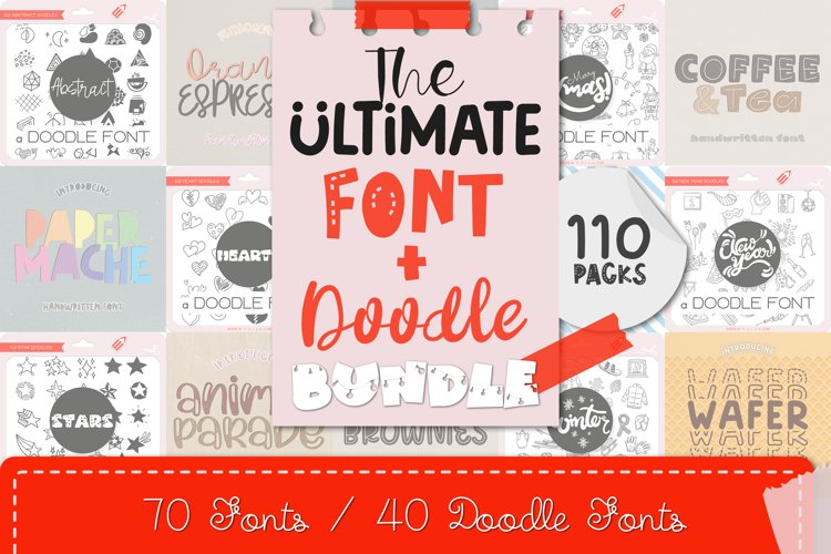 The Ultimate Font&Doodle Bundle - 110 Cute Handwritten Fonts example image 1
