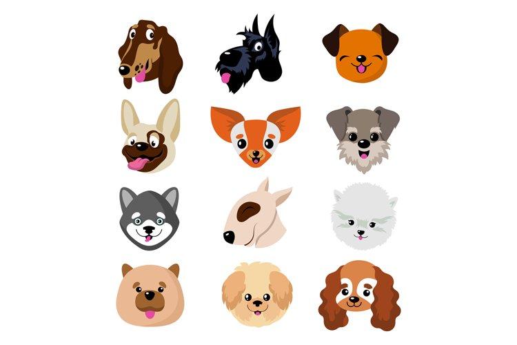 Funny cartoon dog faces. Cute puppy animal vector set