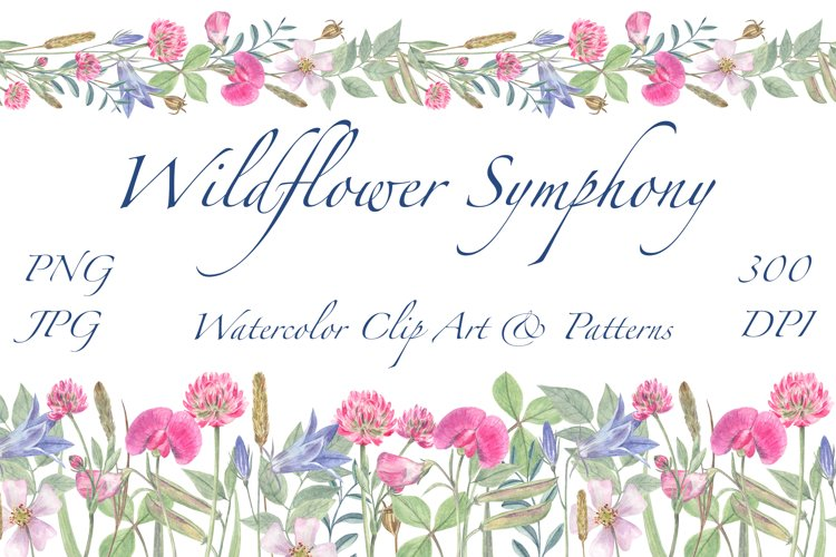 Wildflower Symphony - Watercolor clip art and patterns, PNG