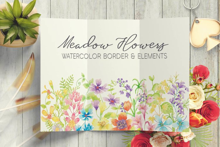 Watercolor border of meadow flowers