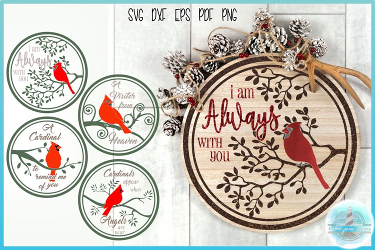Cardinal Quotes Round Tile Ornament Bundle SVG example image 1