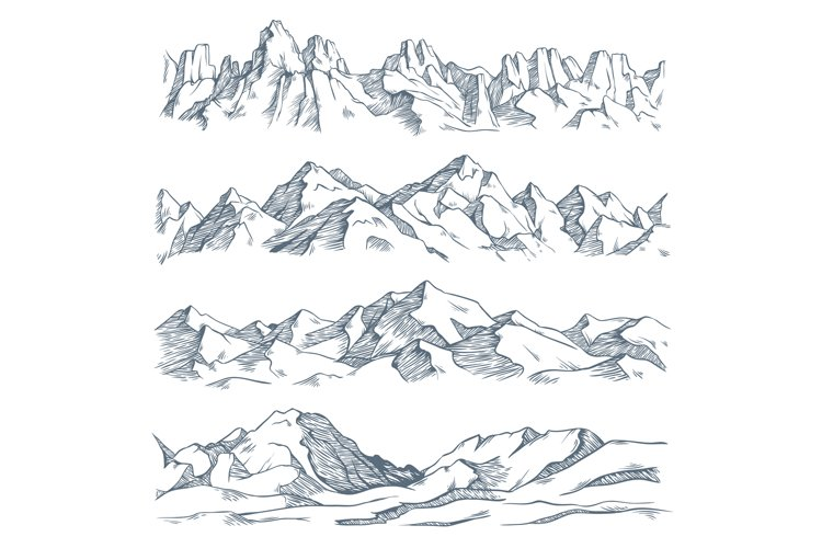 Mountains landscape engraving. Vintage hand drawn sketch of example image 1