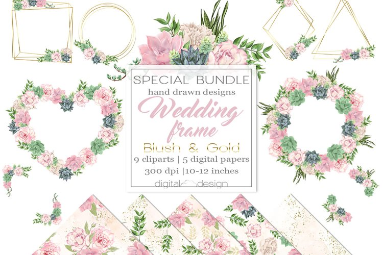Wedding Frame Blush and Gold - Clipart and digital paper example image 1