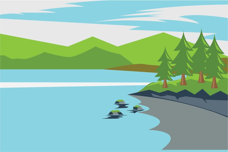 lake and landscape vector illustration example image 1