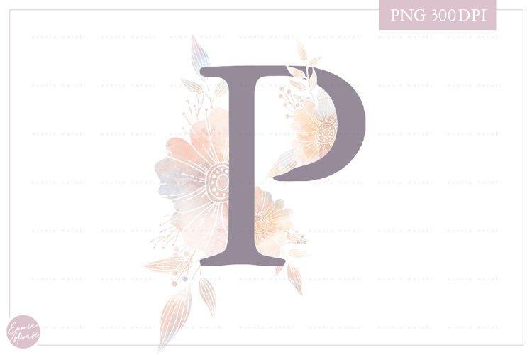 Letter P Floral MONOGRAM - elegant wedding flower initial example image 1