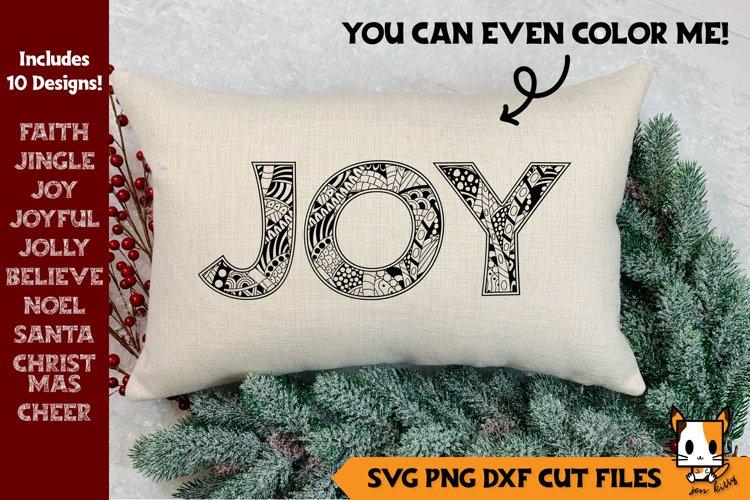 Christmas Bundle | Zentangle SVG Christmas Words example image 1