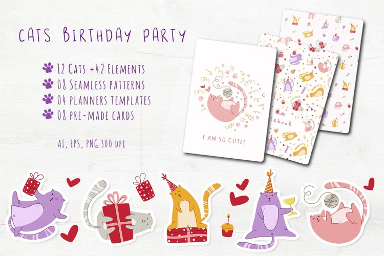 Funny Cats Birthday Party - vector set example image 1