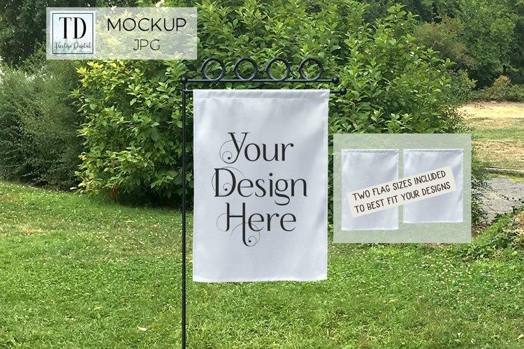 Yard Flag Mockup for Spring, A White Garden Flag Mock-Up example image 1