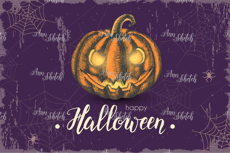 Halloween template with hand drawn pumpkin Jack example image 1