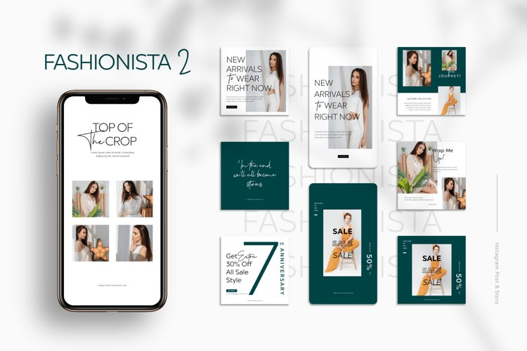 Fashionista II Instagram Templates example image 1