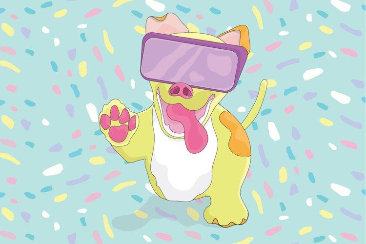 Cute dog wearing VR glasses
