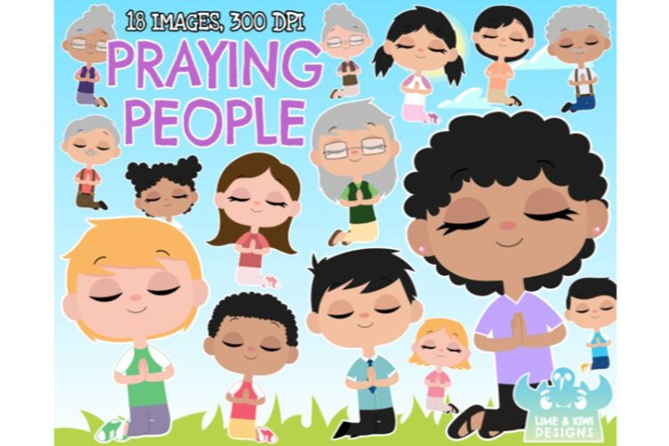 Praying People Clipart - Lime and Kiwi Designs