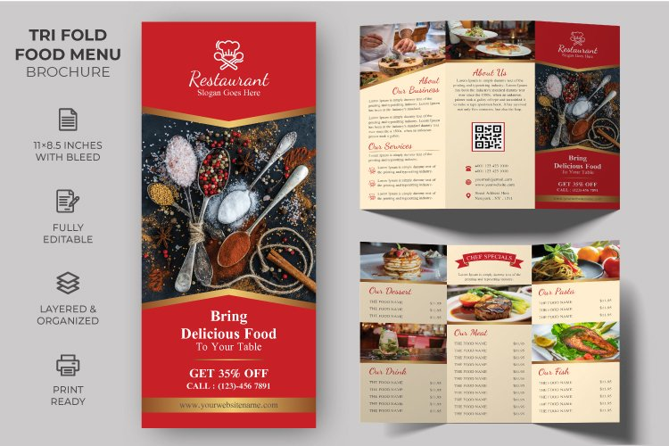 Tri-fold Food Menu Brochure Template example image 1