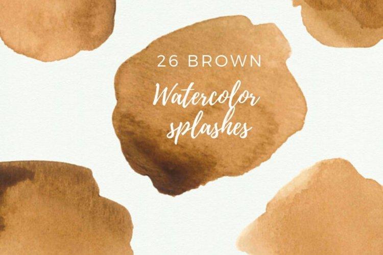 Brown Watercolor splash clipart, Brown watercolor brush example image 1