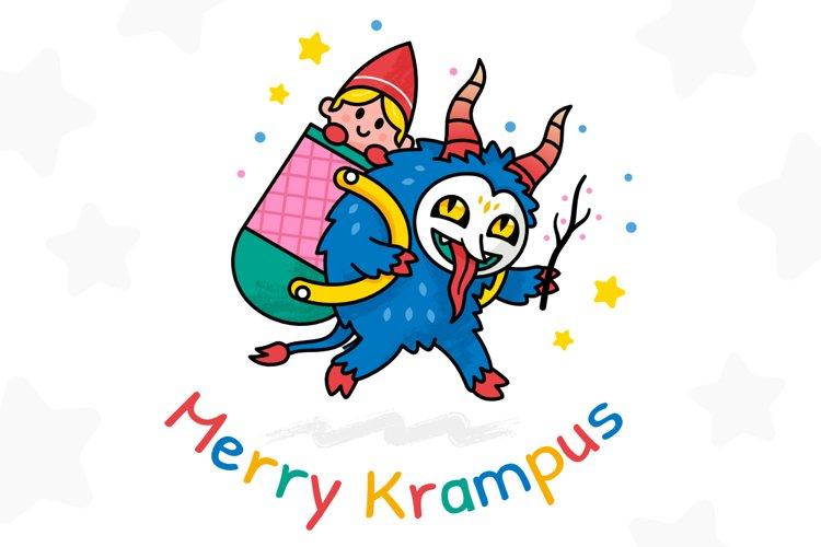 Merry Krampus Christmas Illustration