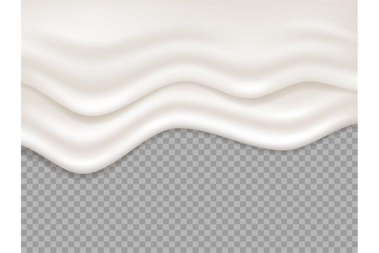 White cream. Milk creamy liquid, yogurt splash. Dripping foa example image 1