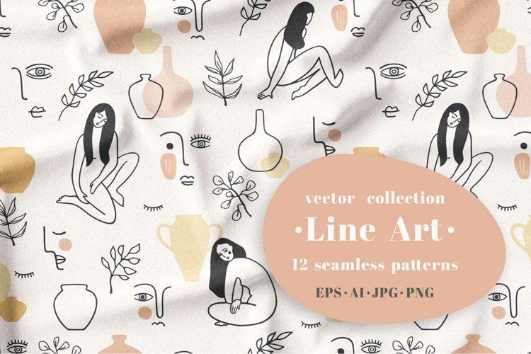 Line Art. 12 seamless patterns