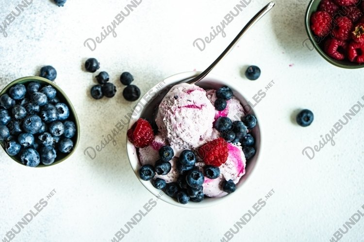 Summer dessert with ice cream and berries example image 1