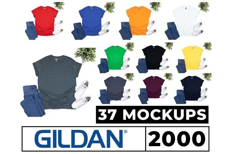 Gildan 5000, 2000, 64000 Mockups 37 Colors Flat Lay White Bg