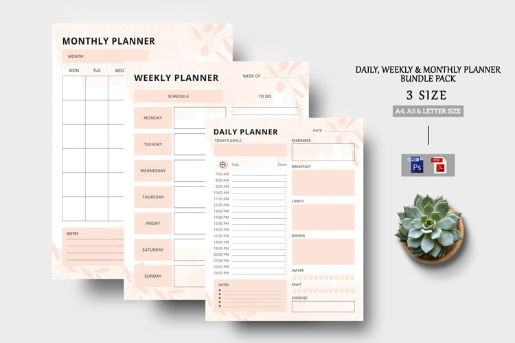 Daily - Weekly - Monthly Planner Sheet example image 1