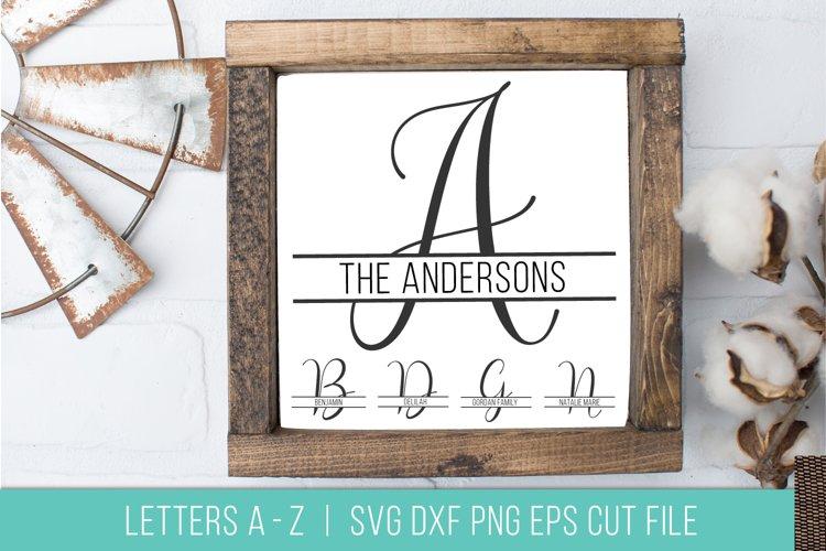 Split Monogram Letter Alphabet SVG DXF PNG Stencil Cut File