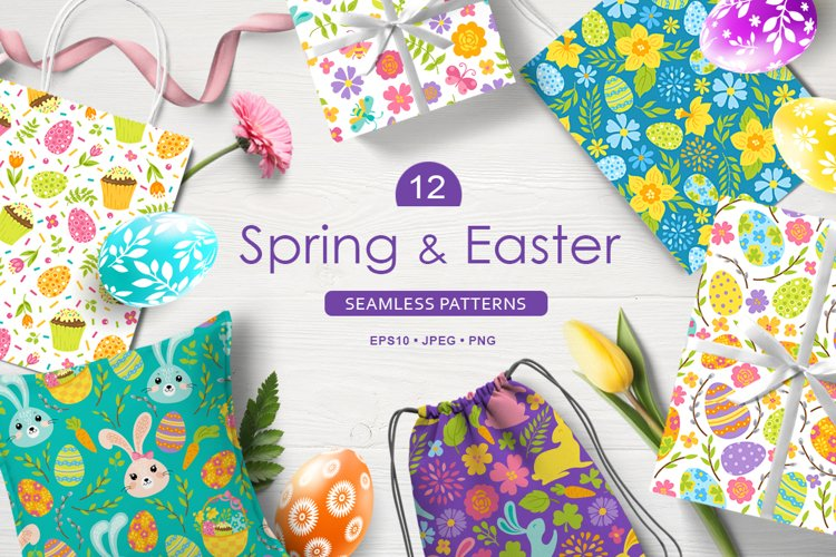 12 Spring and Easter seamless patterns example image 1