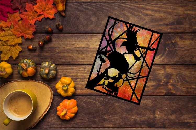 Halloween SVG, Skull SVG, Skull and Raven, Fall Decor