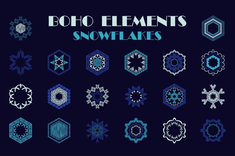 A set of BOHO elements. Snowflakes.