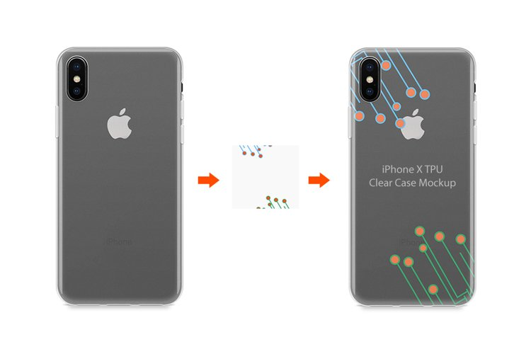 iPhone X TPU Clear Case Mockup Back View example image 1