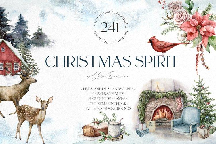 Christmas spirit. Watercolor winter holidays bundle