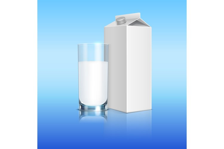 Milk pack and glass of beverage vector template example image 1