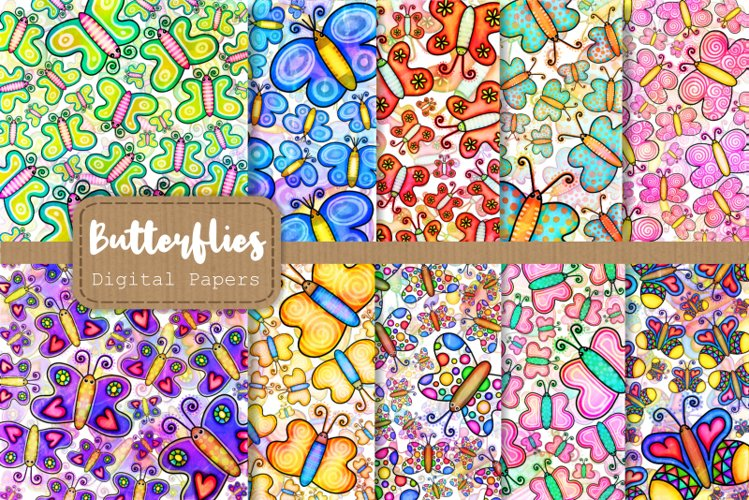 Shabby Chic Doodle Butterfly Papers & Overlays example image 1
