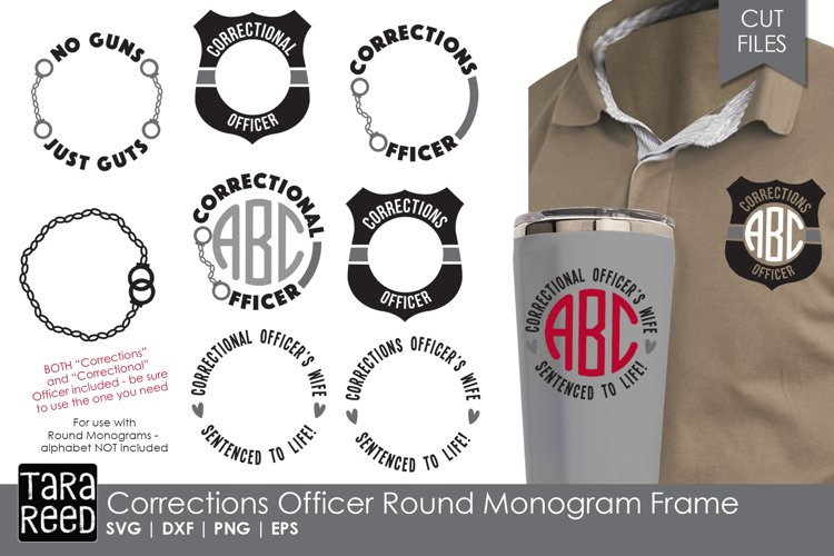Corrections Officer Round Monogram Frame - SVG & Cut Files