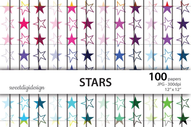 Seamless colored stars digital paper example image 1