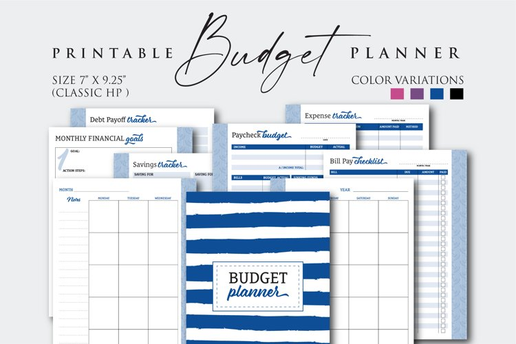 """7"""" x 9.25"""" Paycheck Budget Printable Planner example image 1"""